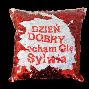 Poduszka cekinowa czerwona...
